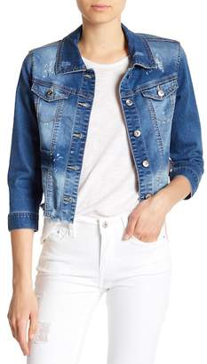C&C California Ribbon Lace-Up Distressed Denim Jacket