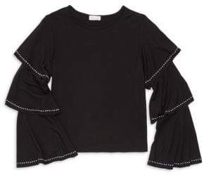 Design History Girl's Ruffle Sleeve Cropped Top