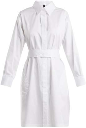 Norma Kamali Belted cotton-poplin shirtdress