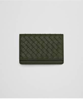 Bottega Veneta Card Case In Artichoke Intrecciato Nappa Leather