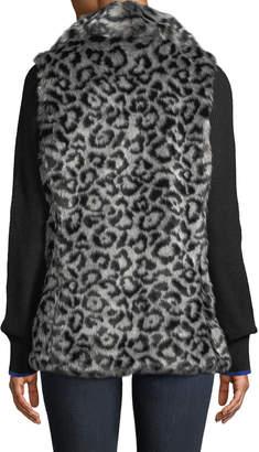 Via Spiga Draped Leopard Faux-Fur Vest