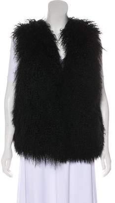 Sofia Cashmere Mongolian Shearling V-Neck Vest