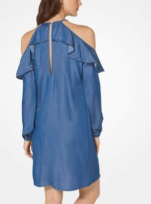 MICHAEL Michael Kors Ruffled Chambray Peekaboo Dress