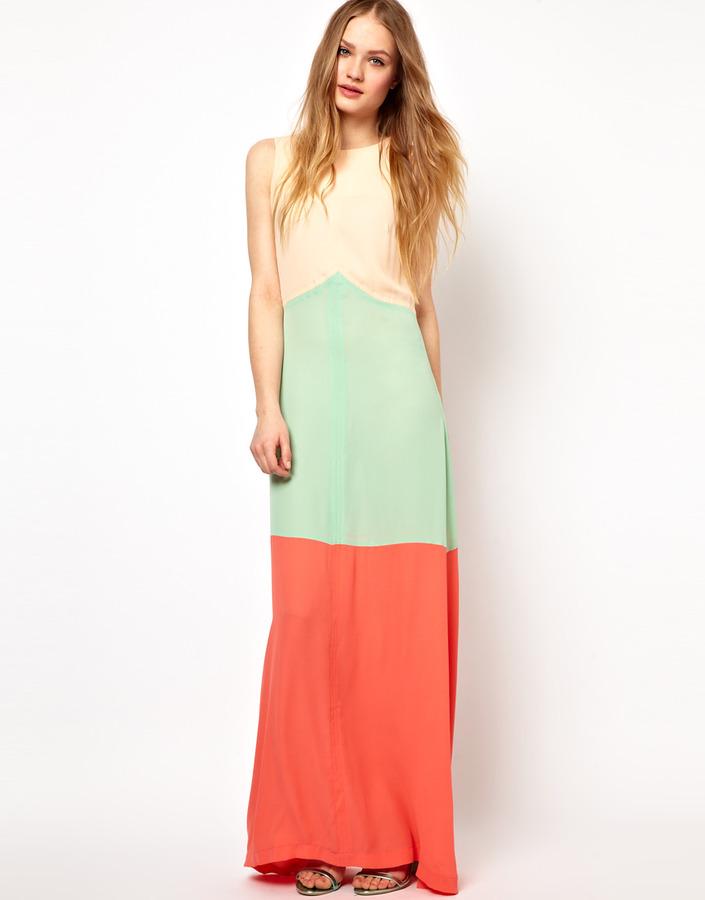 Jarlo Striped Maxi Dress in Colour Block