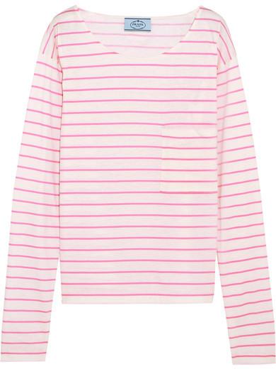 Prada - Striped Cotton-jersey Top - Pink