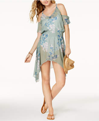 Becca Serene Printed Cold-Shoulder Asymmetrical Tunic Cover-Up
