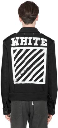 Stripes Printed Cotton Denim Jacket $686 thestylecure.com