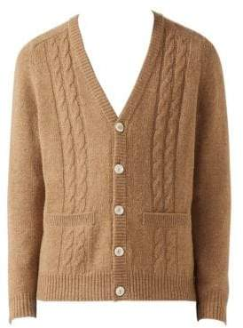 Gucci Wool& Cashmere Cardigan with Mirrored GG Intarsia