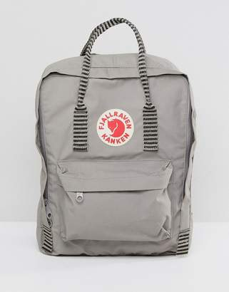 Fjallraven Kanken in Fog Gray with Contrast Stripe Top Handle and Straps