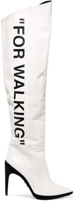 Off-White - For Walking Printed Leather Over-the-knee Boots $2,105 thestylecure.com