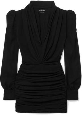 Tom Ford Ruched Silk-blend Georgette Mini Dress - Black