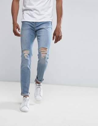 Co Brooklyn Supply Brooklyn Supply Skinny Jeans Bleach Double Heavy Knee Slit