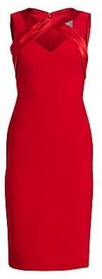 Theia Women's V-Neck Crepe Dress