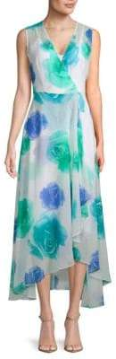 Calvin Klein Floral-Print Surplice Hi-Lo Dress