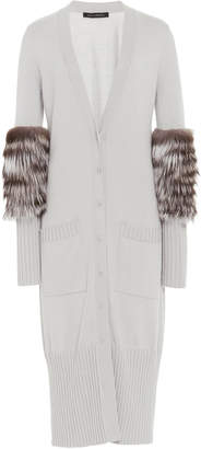 Sally LaPointe Fur-Trimmed Cashmere And Silk-Blend Cardigan