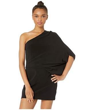 Halston One Shoulder Asymmetrical Sleeve Dress