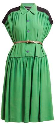 Undercover Star Buttoned Crepe Midi Dress - Womens - Green