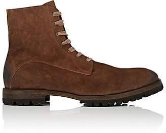 Elia Maurizi Men's Lug-Sole Oiled Suede Boots - Brown