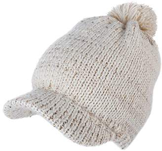 e10f93258c3 BEIGE Jeff   Aimy Acrylic Knitted Newsboy Cap Beanies with Visor Bill Cold  Weather Winter Hat