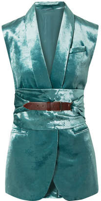 Brunello Cucinelli Belted Cotton-blend Velvet Vest - Petrol