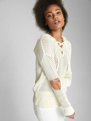 Gap Lace-Up Hooded Pullover Sweater