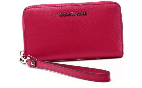 Michael Kors Jet Set Travel Leather Continental Wristlet - Bright Red - 32S5GTVE9L-204 - BRIGHT RED/SILVER - STYLE