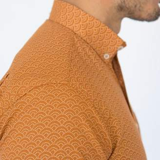 Blade + Blue Soft Orange Wave Print Short Sleeve Shirt - MELVIN