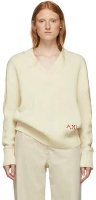 Ami Alexandre Mattiussi オフホワイト オーバーサイズ ロゴ セーター