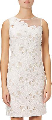 Adrianna Papell Sleeveless Lace Shift Dress, White