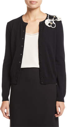 Valentino Floral-Embroidered Button-Front Wool-Cashmere Cardigan