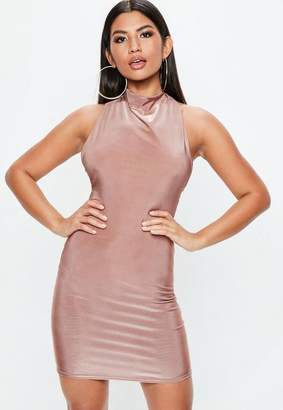 Missguided Nude High Neck Cowl Bodycon Dress, Beige