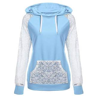 80fede3fe42 2019SamMoSon Hooded Crop Top Sweatshirt,Womens Lace Patchwork Sweatshirt  Pullover Hoodie Coat Outerwear Tops