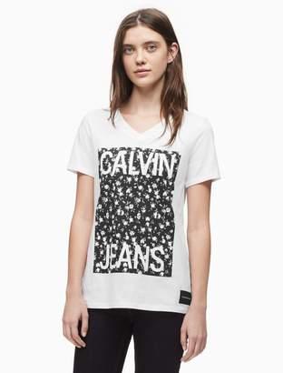 Calvin Klein floral stacked logo v-neck t-shirt