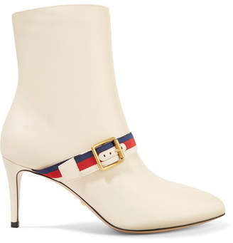 Gucci Grosgrain-trimmed Leather Ankle Boots - Off-white