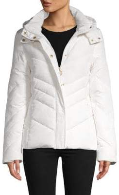 Roberto Cavalli Chevron Down & Feather Quilted Jacket