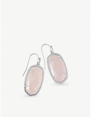 Kendra Scott Dani rhodium-plated rose quartz drop earrings