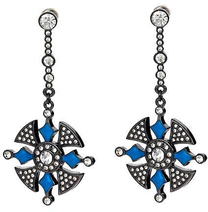 Blu Bijoux Gunmetal and Crystal Drop Earrings