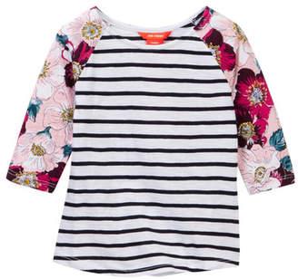 Joe Fresh Mix Print Raglan Shirt (Toddler & Little Girls)