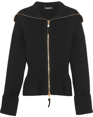 Alexander McQueen - Ribbed-knit Wool Peplum Cardigan - Black $1,645 thestylecure.com