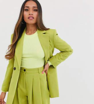 Asos DESIGN Petite strong shoulder suit blazer in citrus pop