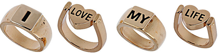 Topshop Spinning Word Ring Pack