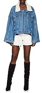 Y/Project Women's Oversized Shearling-Trimmed Denim Jacket - Blue