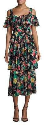 Laundry by Shelli Segal Floral Tiered Ruffled Midi Dress