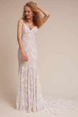 24b6a5a60fb9 Nude Lace Wedding Dress - ShopStyle