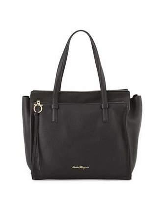 Salvatore Ferragamo Amy Large Leather Tote Bag, Nero $1,390 thestylecure.com