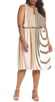 Adrianna Papell Blouson Midi Dress