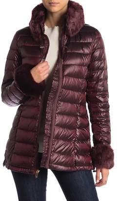 Via Spiga Faux Fur Trimmed Lightweight Down Jacket