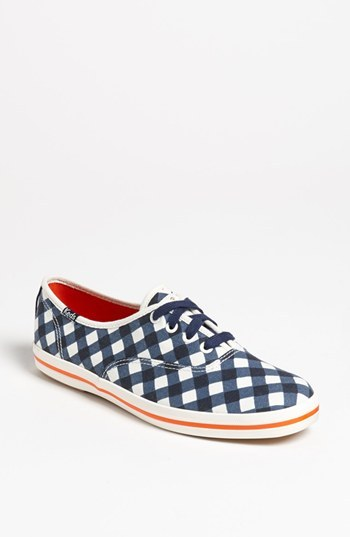 Kate Spade Keds for 'kick' sneaker Womens Navy Gingham Canvas Size 10.5 M 10.5 M