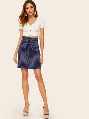 Shein Striped Button Front Paperbag Waist Skirt