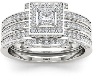 Imperial Diamond Imperial 1-1/2 Carat T.W. Diamond Single Halo Cluster Two-Band 14kt White Gold Engagement Ring Set